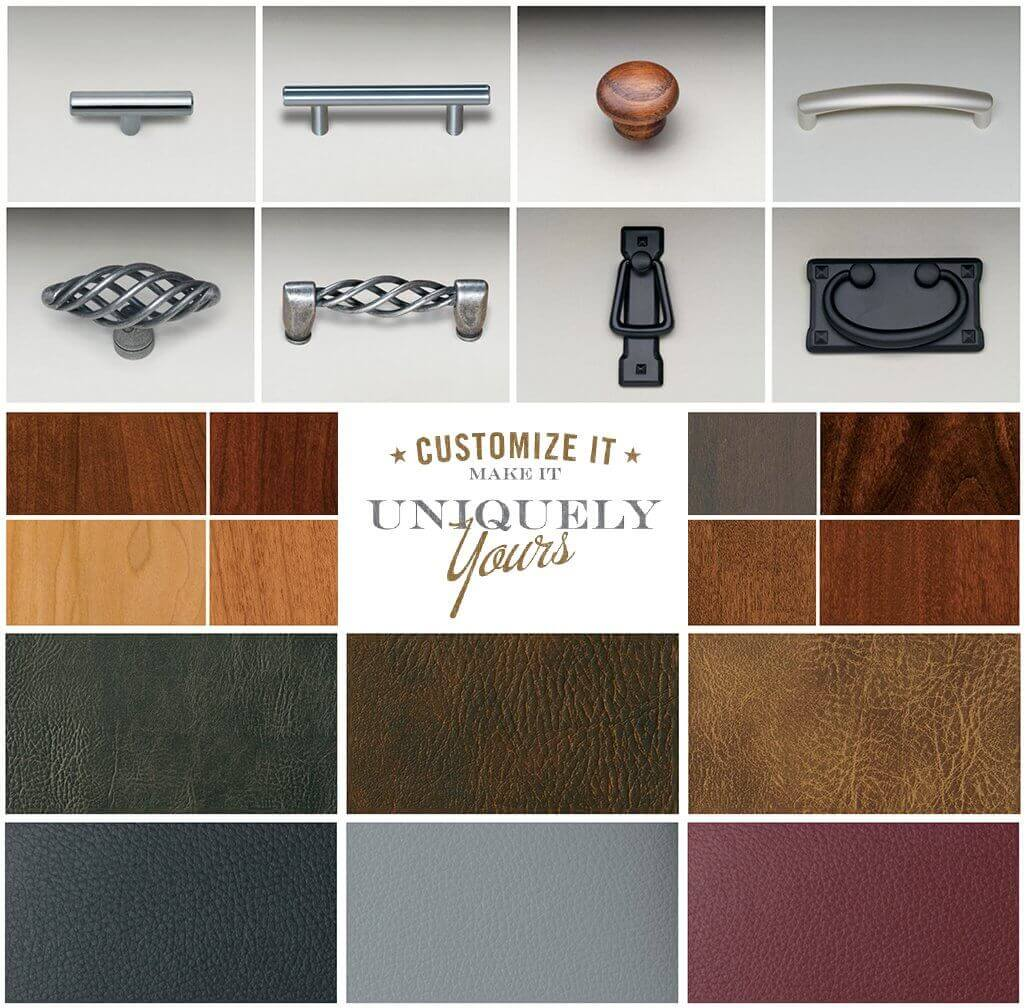 Furniture customization materials, knobs, handles, wood and leather material